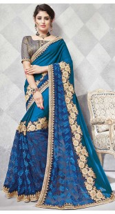 Blue Net And Georgette Saree With Matching Blouse