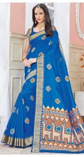 Blue Raw Silk Self Weaving Work Saree