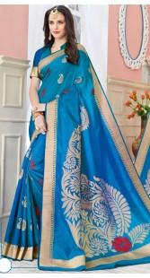 Blue Self Weaving Work Raw Silk Border Saree