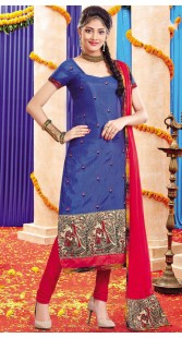 Blue Silk Churidar Salwar Kameez With Matching Dupatta