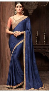 Blue Silk Georgette Border Saree With Embroidery Work Blouse