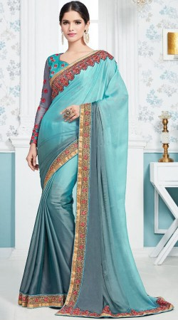 Blue Soft Silk Saree With Full Sleeves Blouse