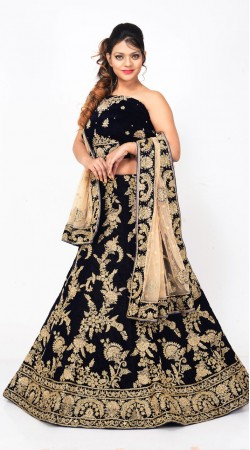 Bridal Wear Royal Blue Velvet Lehenga Choli