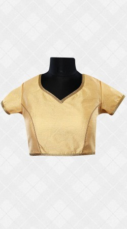 Brocade Golden Blouse With Lace Work