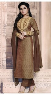 Brown Jacquard Embroidery Work Long Kameez With Palazzo Pant RY1035B14