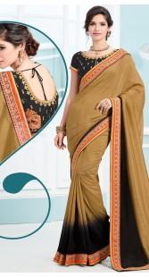 Brown Soft Silk Saree With Dori Blouse