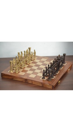 Greek and Roman Brass Handcrafted Chess Pieces with Wooden Chess Board