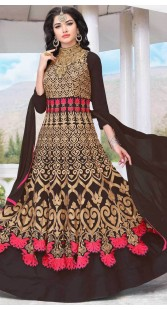 Chocolate Brown Party Wear Anarkali Suit