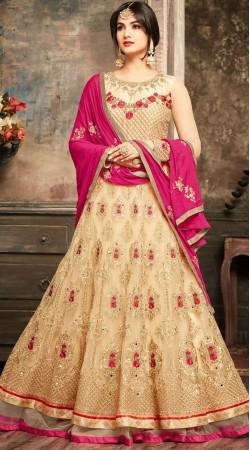 Classy Cream Net Designer Anarkali Suit
