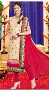 Classy Cream Silk Dear Work Salwar Suit