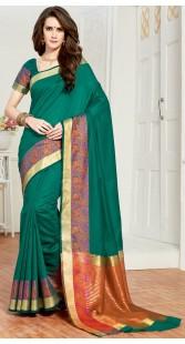 Classy Rama Green Cotton Silk Saree