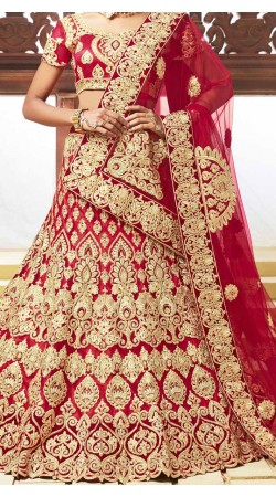 Classy Red Net Designer Bridal Lehenga