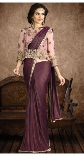 Cocktail Party Wine Fancy Knit Designer Saree