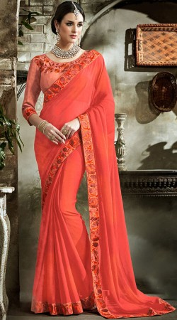 Coral Georgette Border Saree With Matching Blouse
