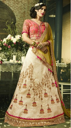 Cream Art Silk Designer Lehenga Choli With Contrast Dupatta