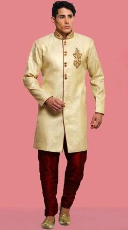 Cream Banarasi Brocade Men Sherwani