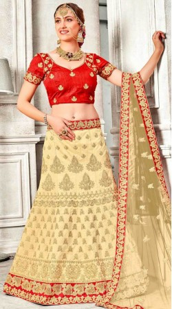 Cream Banglori Silk Embroidery Work Lehenga Choli