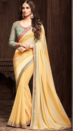 Cream Chiffon Georgette Saree With Contrast Blouse