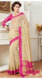 Cream Cotton Silk Saree With Pink Blouse