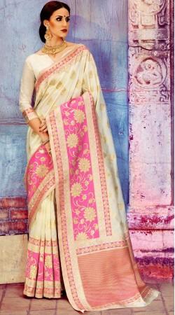 Cream Silk Self Weaving Work Saree