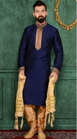 Dark Blue Banarasi Silk Kurta Pajama For Men