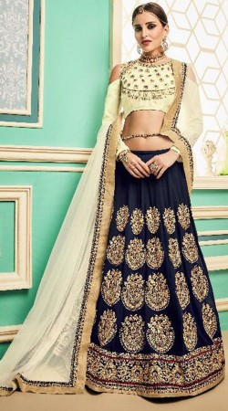 Dark Blue Silk Embroidery Work Lehenga Choli