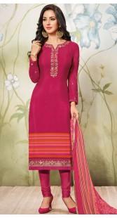Dark Pink Crepe Churidar Suit With Dupatta