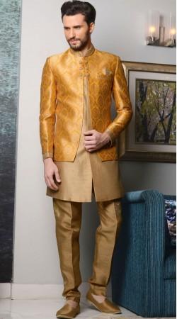 Dashing Golden And Mustard Brocade Designer Sherwani