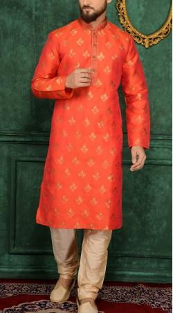 Dashing Red Jacquard Kurta Pajama