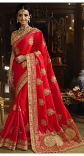 Designer Red Art Dhupion Silk Bridal Saree