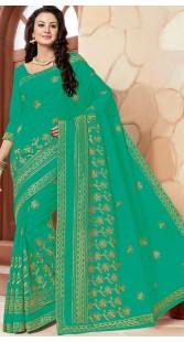Embrodiery Work Green Cotton Saree