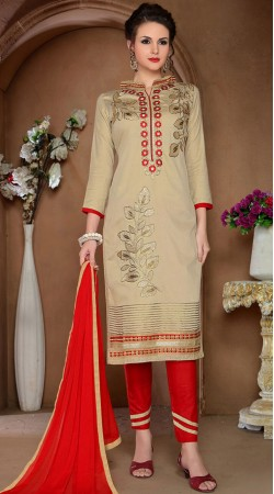 Embroidery Work Beige Glaze Cotton Salwar Kameez