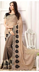 Embroidery Work Beige Satin And Chiffon Party Saree