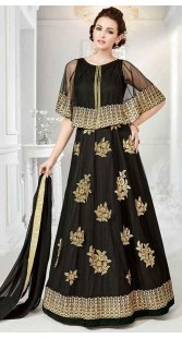 Embroidery Work Black Cape Style Anarkali Suit