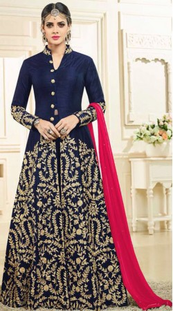 Embroidery Work Blue Anarkali Cum Lehenga