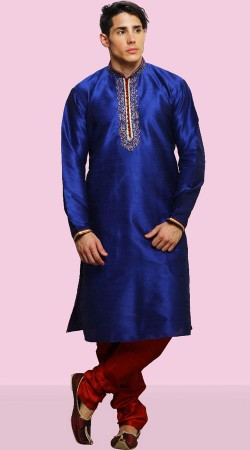 Embroidery Work Blue Men Kurta With Red Churidar