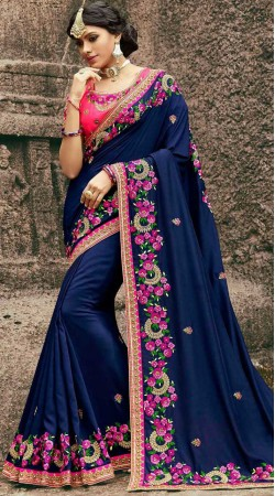 Embroidery Work Blue Saree With Contrast Pink Blouse