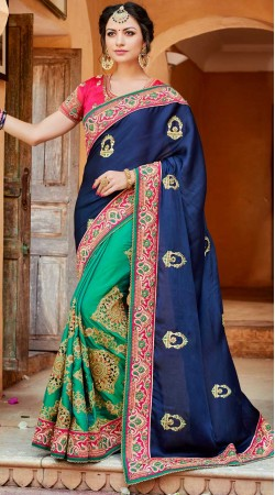 Embroidery Work Blue Satin Silk Saree For Party