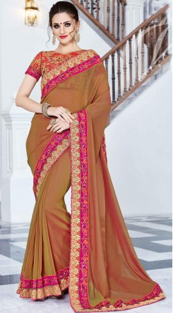 Embroidery Work Brown Georgette Saree