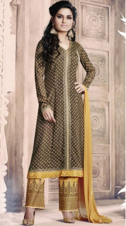 Embroidery Work Brown Palazzo Suit With Matching Dupatta RY1038B14