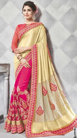 Embroidery Work Golden And Magenta Saree
