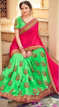 Embroidery Work Green Jacquard Silk Saree With Magenta Palla