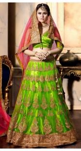Embroidery Work Green Net Wedding Lehenga Choli