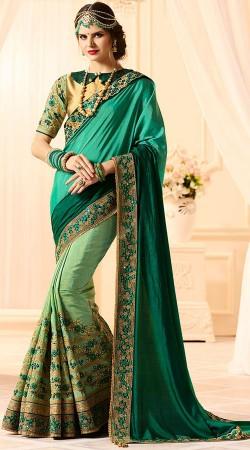 Embroidery Work Green Silk Saree