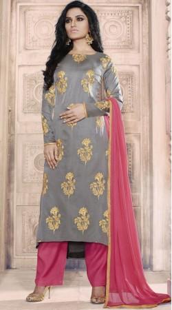 Embroidery Work Grey Tussar Silk Kameez With Palazzo Pant RY1036B14