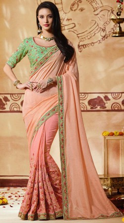 Embroidery Work Light Pink Party Saree With Sea Green Blouse