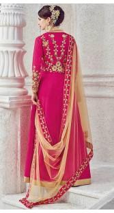 Embroidery Work Magenta Silk Party Wear Anarkali Suit