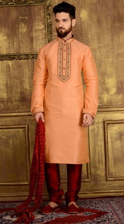 Embroidery Work Peach Banarasi Silk Kurta Pajama