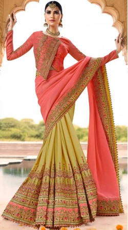 Embroidery Work Pink And Lime Green Silk Saree