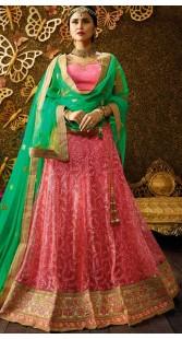 Embroidery Work Pink Net Wedding Lehenga Choli